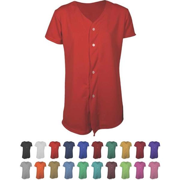 Women's & Girls Full Button Softball Jersey