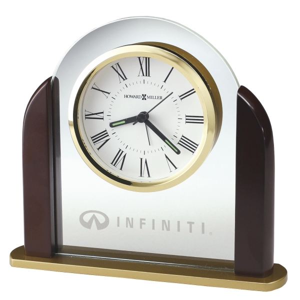 Derrick - Glass Arch Tabletop Alarm Clock With Satin Rosewood Finished Sides Photo