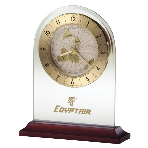 World Time Arch - World Time Table Alarm Clock Is A Beveled Glass Arch Set In A Satin Rosewood Base Photo