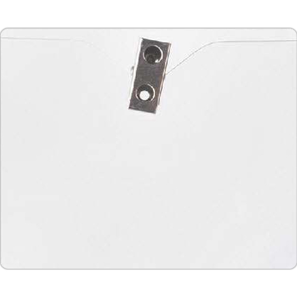 Blank, Horizontal Vinyl Badge Holder With Bulldog Clip Attachment Photo