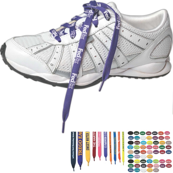"Printed 3/8"" Width, 36"" Long, White Biodegradable Shoelaces Photo"