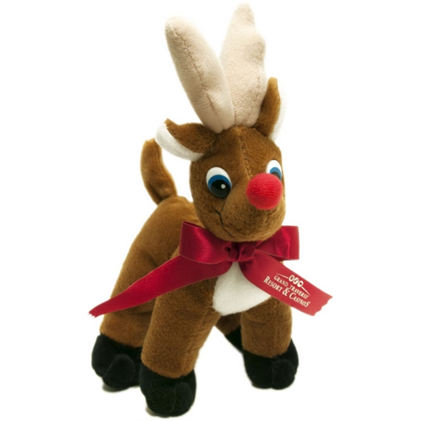 "7"" Reindeer with Ribbon and One Color Imprint"
