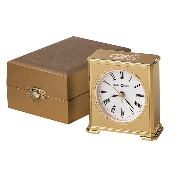 Camden - Brushed Brass Tone Alarm Clock With Polished Brass Finished Base Photo