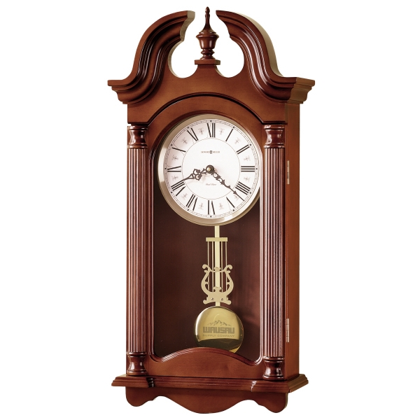 Everett - Windsor Cherry Finished Wall Clock With Swan Neck Pediment And Turned Finial Photo