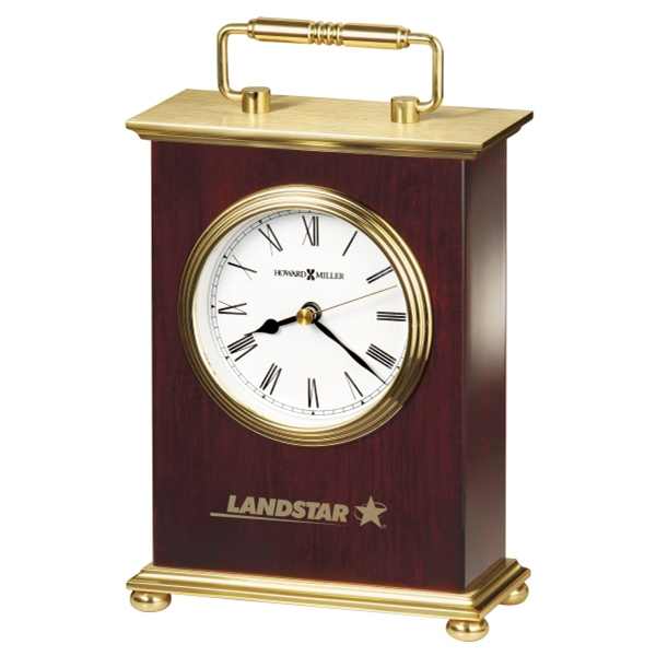 Rosewood Bracket - Rosewood Finished Clock With Brushed Brass Top And Base, With Brass Handle Photo