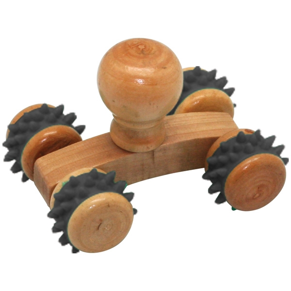 Small Massager Made Of Real Wood With Textured Wheels Photo