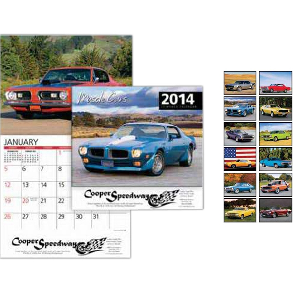 Muscle Cars Wall Calendar. 13-months. Stapled Photo