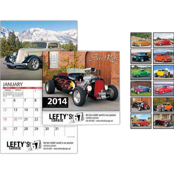 Street Rods Wall Calendar. 13-months. Stapled Photo