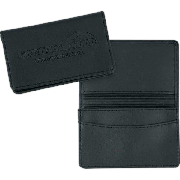 "Stratton - Black Leather-like Card Case. 4 1/4"" X 2 3/4"" X 3/8"" Photo"