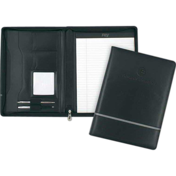 "Chartwell - Black Vinyl Zippered Padfolio. 9 3/4"" X 13"" X 1"" Photo"
