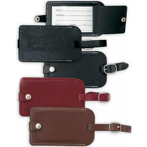 "Black Leather Luggage Tag. 2 5/8"" X 4 1/2"" X 1/8"" Photo"