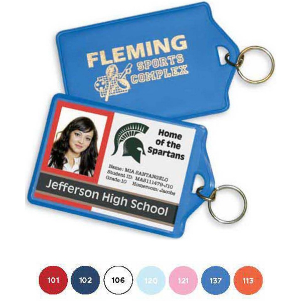 Identification Holder/key Ring, Clear View Pocket Fits Employee Badges Photo
