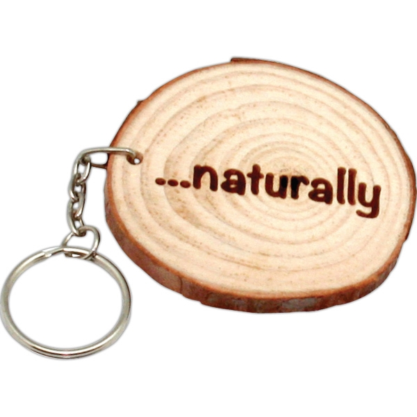 Natural Wood with Rings Keyring