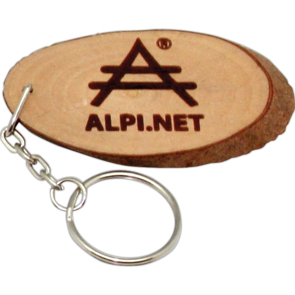Natural Wood With Rings Keyring Photo