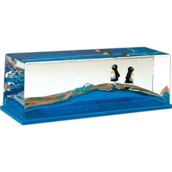 Liquid Wave Paperweight With Floating Penguin Inserts Photo