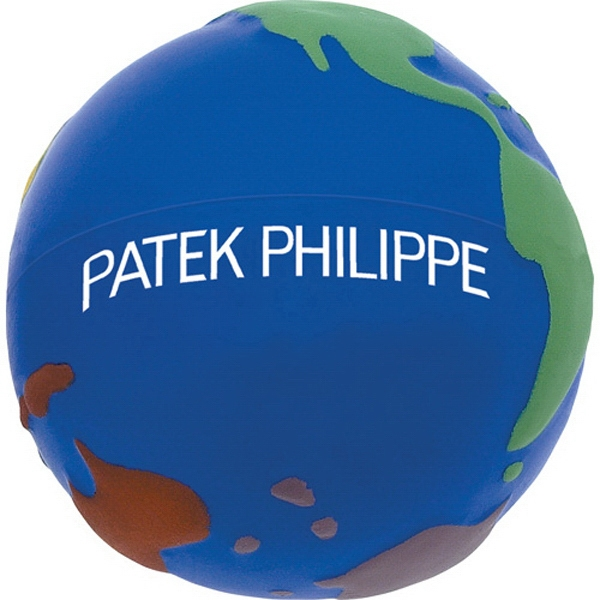 World In Color Stress Reliever. Blue With Multi-colored Continents Photo