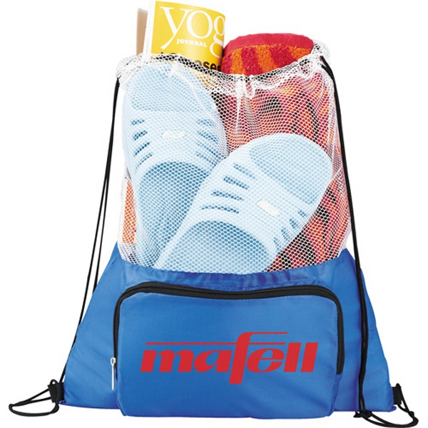 Court Time - Drawstring Cinch Backpack. 210 Denier Polyester. Open Main Mesh-top Compartment Photo