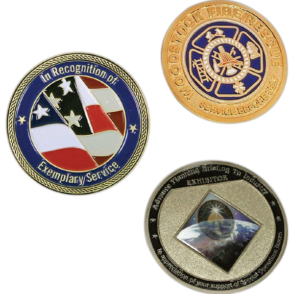 1.2 Mm - Die Struck 2-tone Steel Coin With Sandblasted Recessed Areas, 2-d Photo