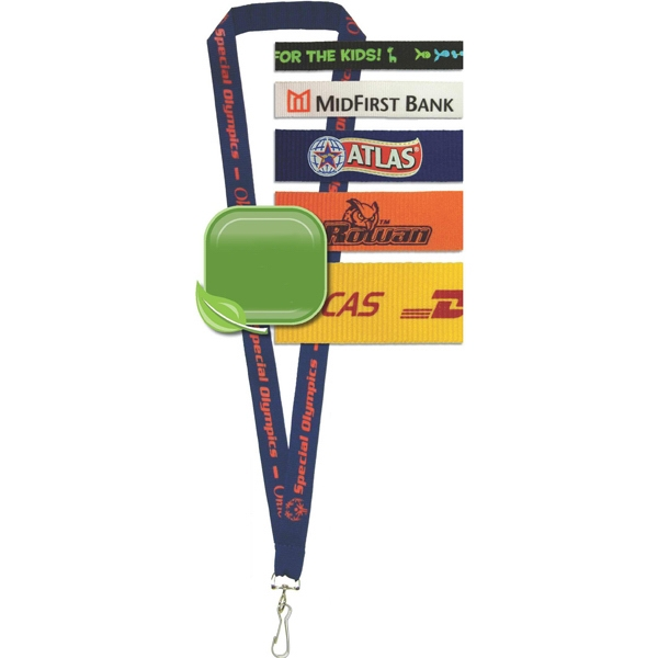 "3/4"" - Recycled Silkscreened Polyester Lanyard, 17.5"" On Each Side Photo"