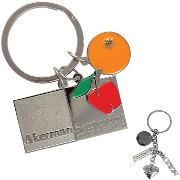 "Multi Charm Die Struck Key Tag With 3 Charms Up To 7/8"" And A Split Ring Attachment Photo"