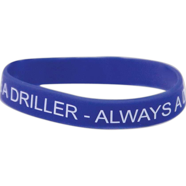 Silicone Rubber Screened Wristband, 360 Design Photo