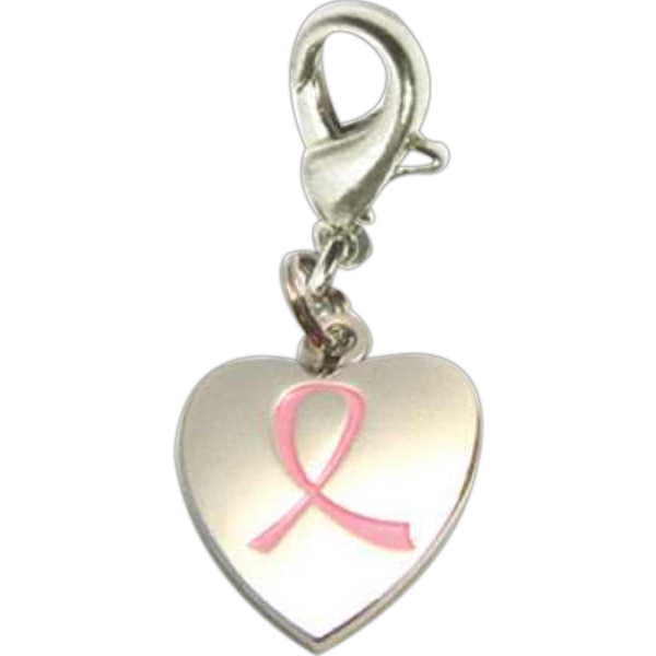Breast Cancer Awareness Heart Charm Photo