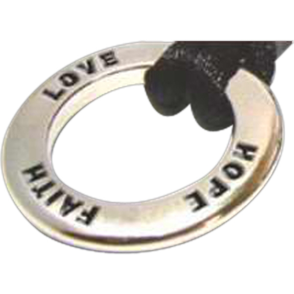 Faith Hope Love (stock) - Stock Design Charm Necklace With Black Rope And Round Inspirational Charm Photo