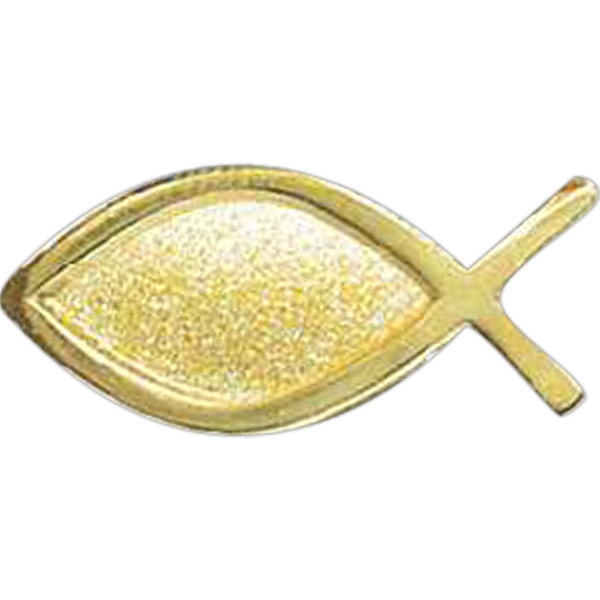 Gold Christian Fish - Stock Lapel Pin Photo