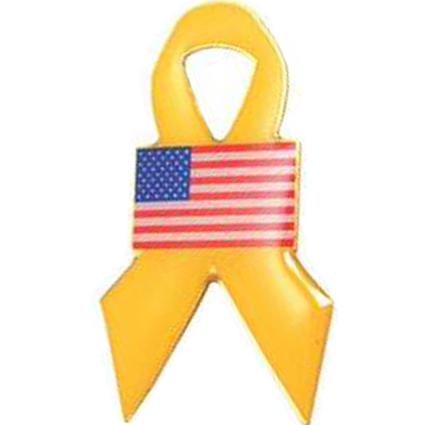 Yellow Ribbon With Flag - Patriotic Stock Lapel Pin Photo