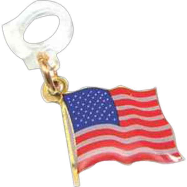Flag With Pole - Patriotic Stock Lapel Pin Photo