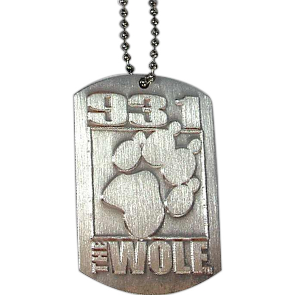 "Original Die Struck Aluminum Dog Tag With 24"" Ball Chain Photo"
