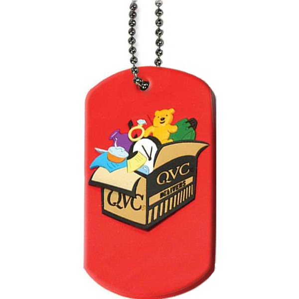 "Pvc Soft Rubber Dog Tag With 24"" Ball Chain Photo"