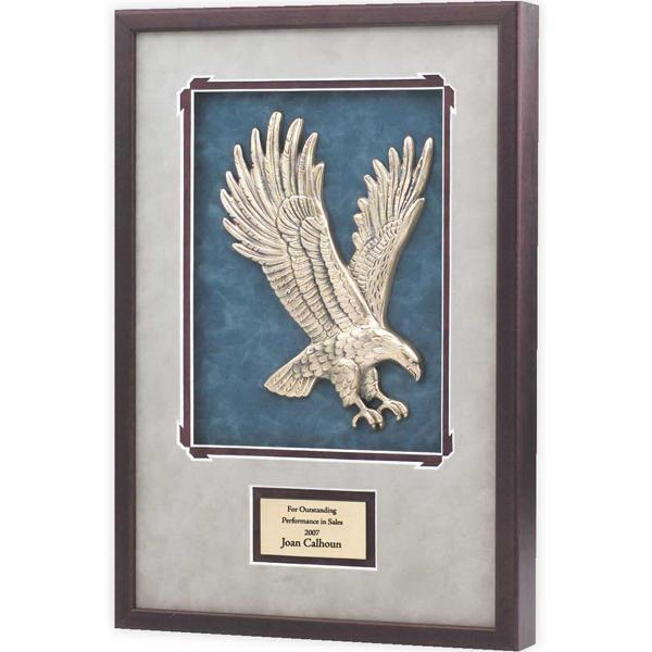 Antique bronze eagle casting in wood frame