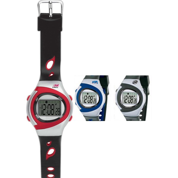 Pro-sport - Stopwatch With Black Rubber Band Straps And Color Accents Photo