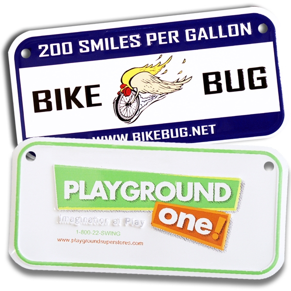 "Custom Embossed Aluminum Bicycle, Plate With Two Holes, 3""x6"" Photo"
