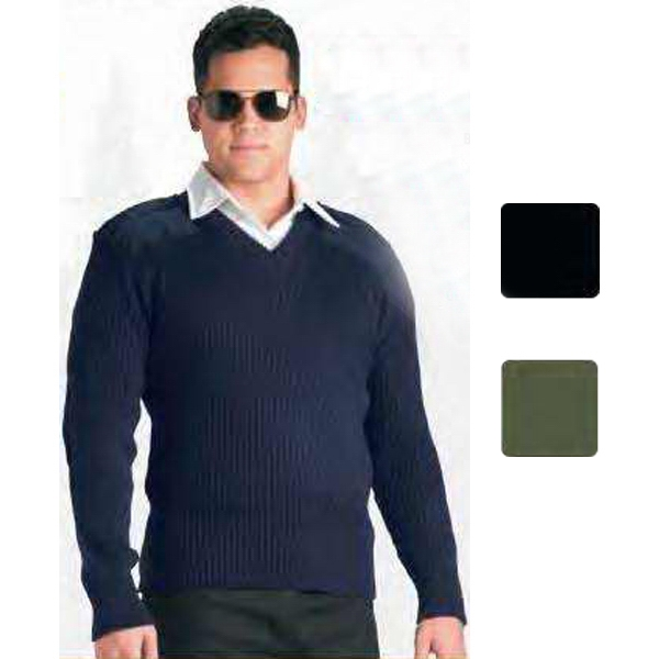 Government Type Acrylic V-Neck Sweater