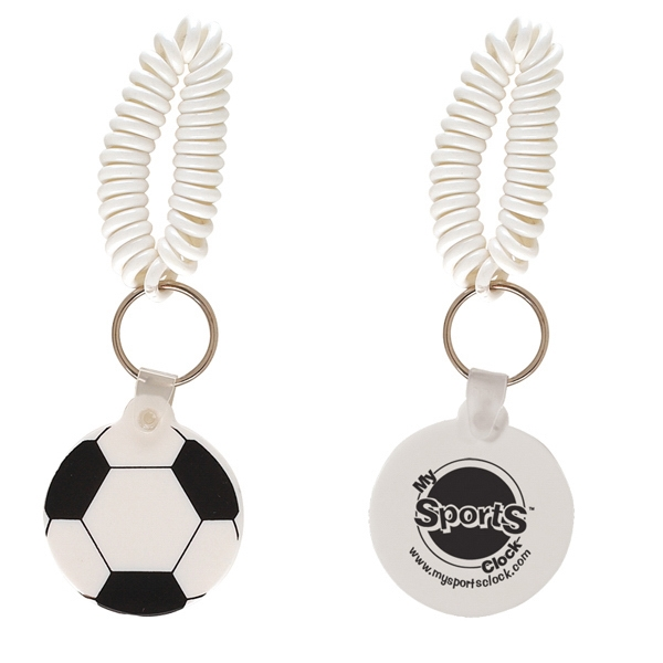 Sports Ball Shaped Vinyl Key Fob With Coil Wristband Photo