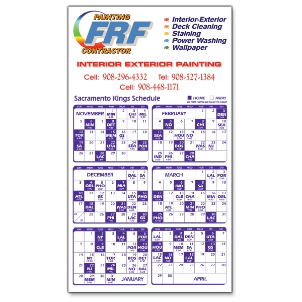 "Magnet 20 Mil - Sports Calendar. Digital Four Color Process Print; Size 4 X 7"" Photo"