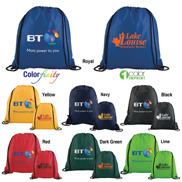 Sale 5-7 Day Production - Polyester Drawstring Backpack With Reinforced Grommeted Corners Photo