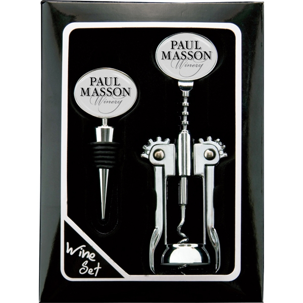 Catalog 5-7 Day Production - Wine Gift Set With Chrome Stopper And Chrome Cork Screw Photo