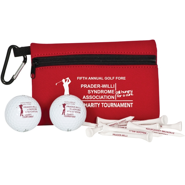 Tournament (r) Pinnacle (r) Gold - Pinnacle Gold - Golf Outing Pack With Neoprene Ditty Bag, 10 Tees And 2 Golf Balls Photo