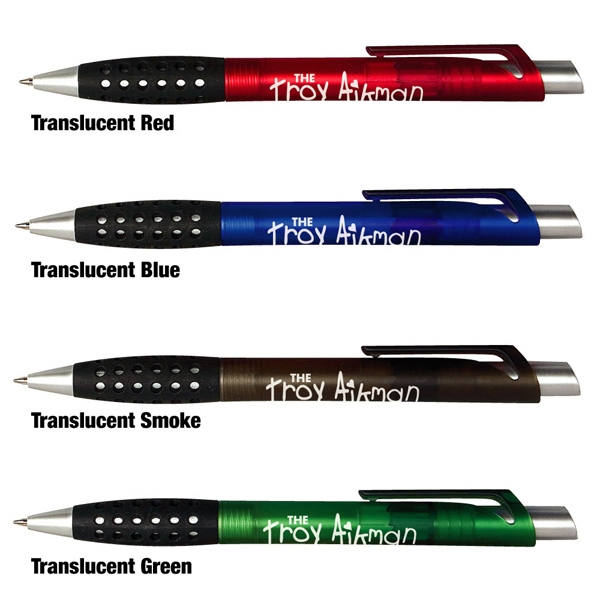 Troy - Sale 5-7 Day Production - Frost Translucent Pen With Distinctive Angled Matte Silver Plastic Plunger Photo