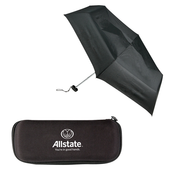 "Sale 5-7 Day Production - Folding Umbrella Has 43"" Arc & Compact Size With Case Photo"