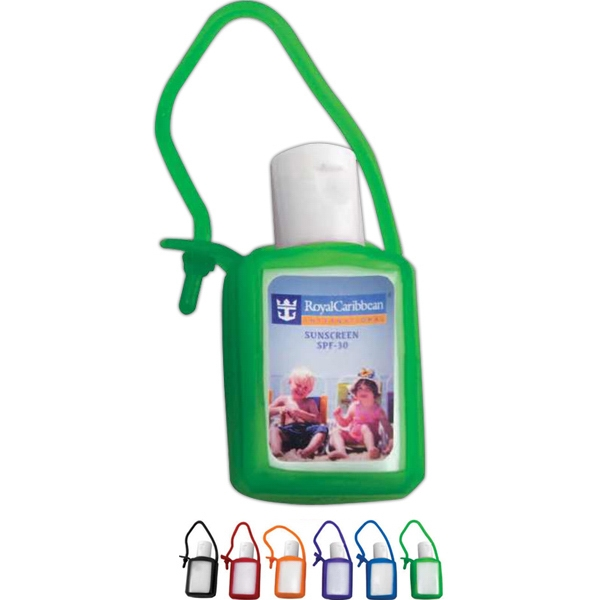 .5 oz sunscreen lotion SPF30 with silicone keychain case