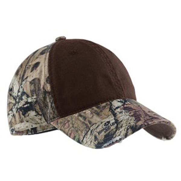 Port Authority (r) - Camo Cap With Contrast Front Panel, Minor Distressing Adds Lived In Character Photo