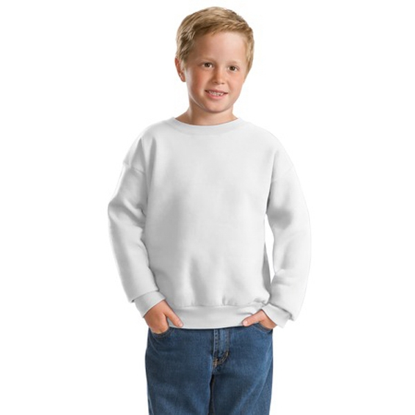 Hanes (r) Comfort Blend (r) Ecosmart (r) - White - Youth Size 7.8 Oz. Sweat Shirt With Coverseamed Neck And Set In Sleeves Photo