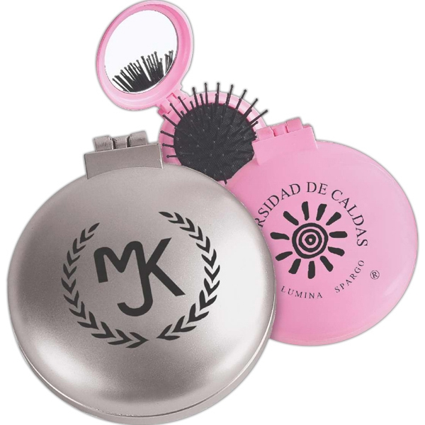 Compact hairbrush with mirror - Compact hairbrush with mirror.