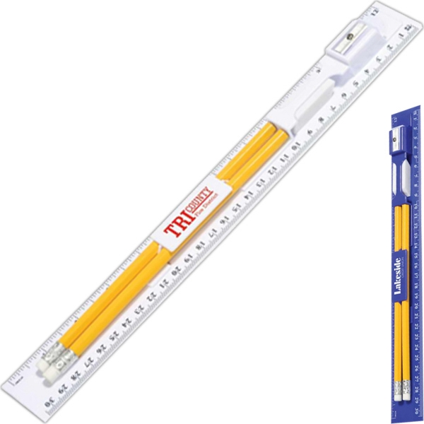 Writing Ruler Kit With 2 Pencils, Eraser And Pencil Sharpener Photo