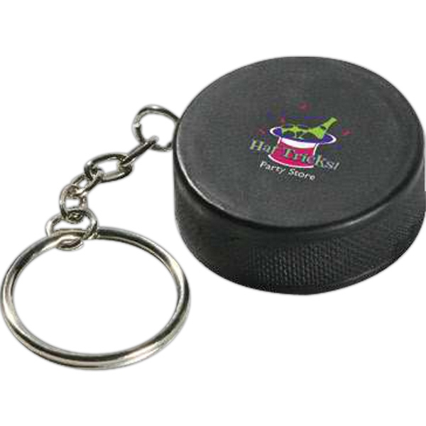 "Hockey Puck Shape Stress Reliever Key Chain, 1 1/2"" Diameter X 9/16"" Photo"