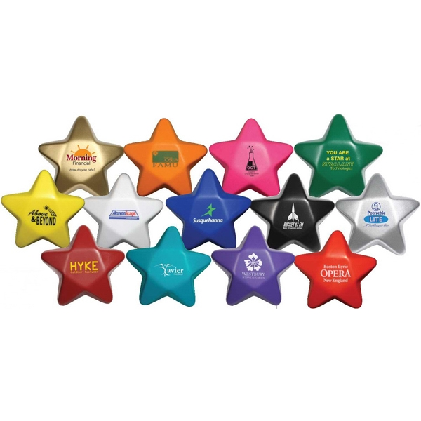"Silver - Star Shape Stress Reliever, 3 1/4"" Diameter X 1 1/4"" Photo"
